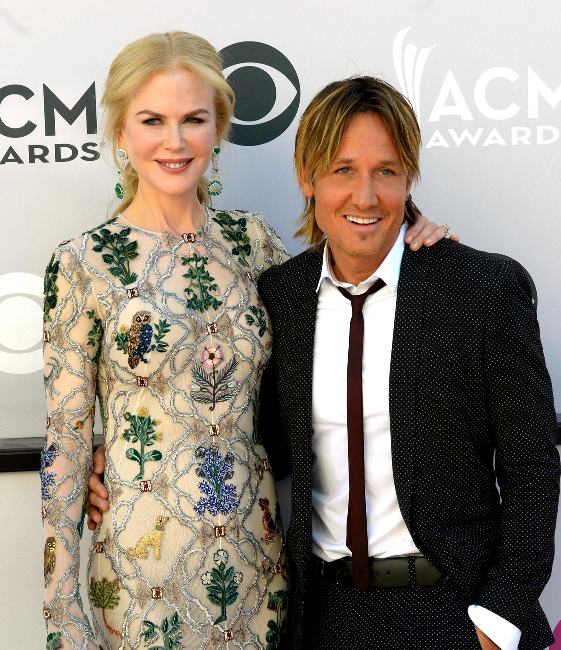 Keith Urban, nominee for Entertainer of the Year, Male Vocalist of the Year and Album of the Year with his beautiful actress wife Nicole Kidman walking the Academy of Country Music Awards red carpet at T-Mobile Arena. Sunday, April 2, 2017. (Glenn Pinkerton/ Las Vegas News Bureau)