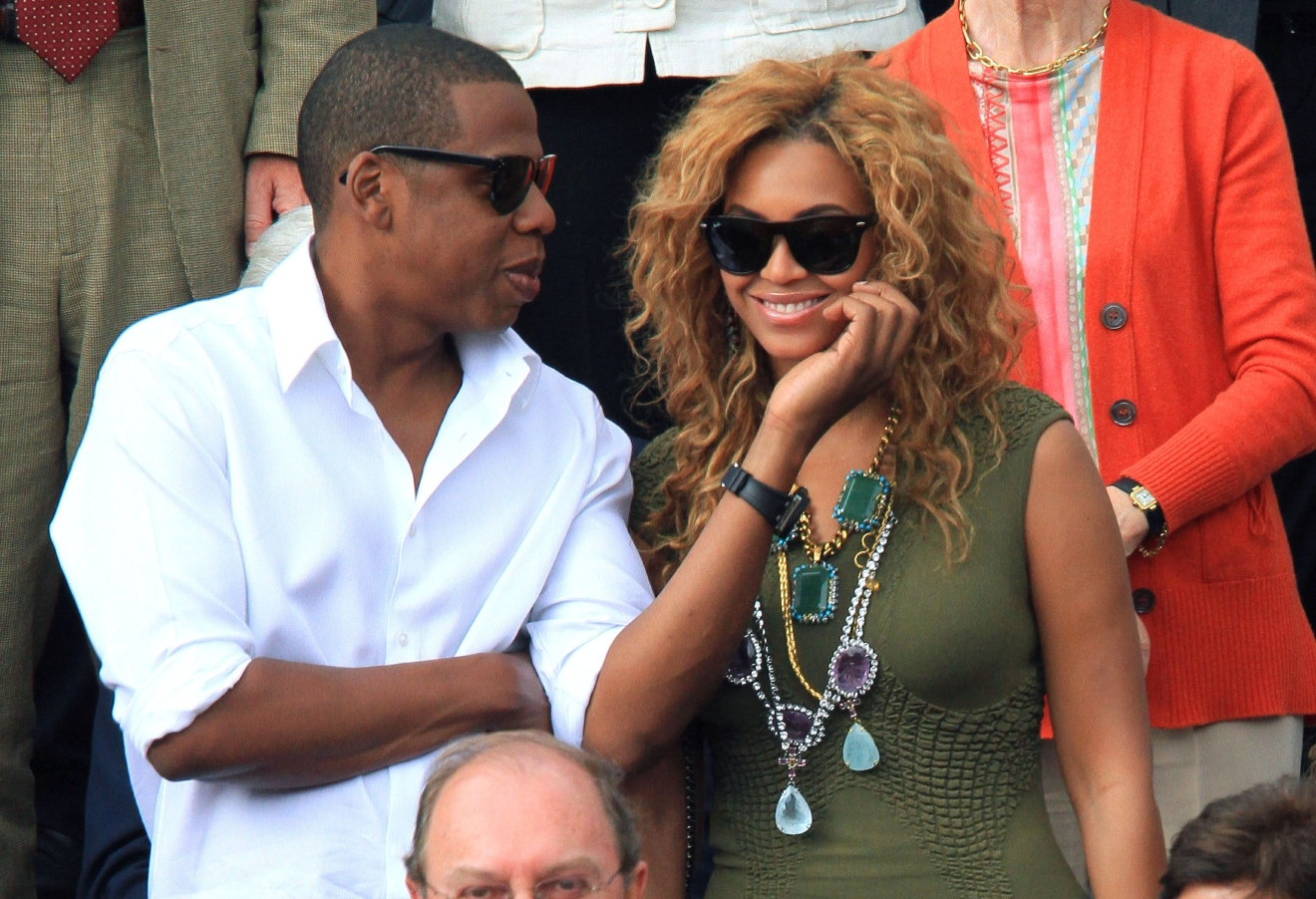 Jay-Z and Beyonce Knowles watch the men's final match between Rafael Nadal and Robin Soderling during the French Open at the Roland Garros stadium on June 6, 2010. (WENN)
