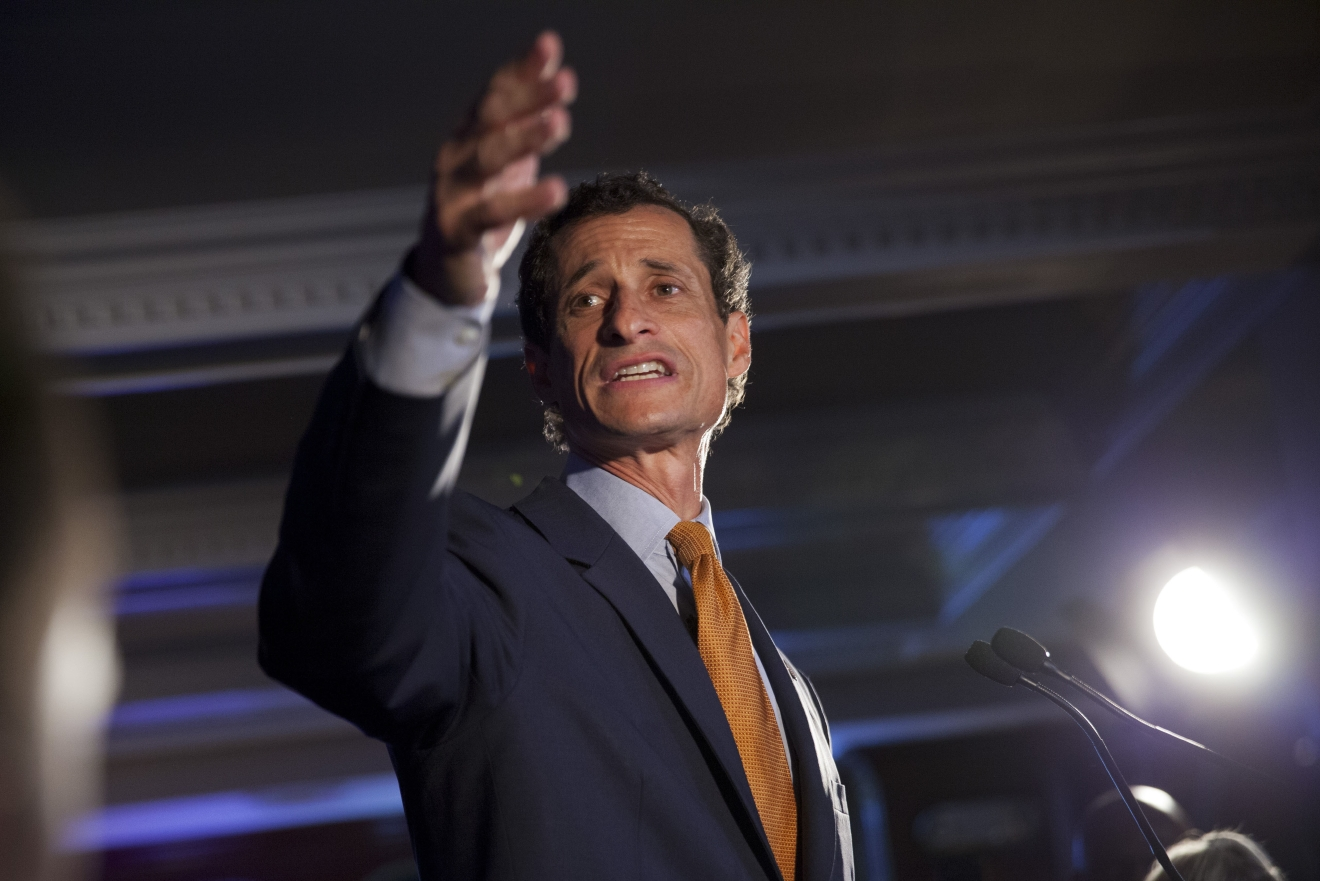 FILE - In this Tuesday, Sept. 10, 2013 file photo, Democratic mayoral hopeful Anthony Weiner makes his concession speech at Connolly's Pub in midtown in New York. (AP Photo/Jin Lee, File)