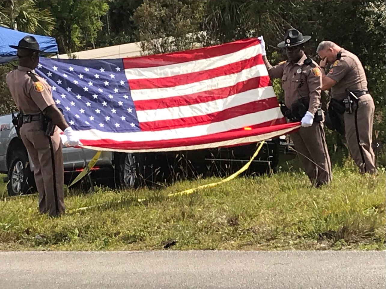 Memorial for slain trooper Joseph Bullock on I-95 near Stuart. (FHP West Palm Beach)