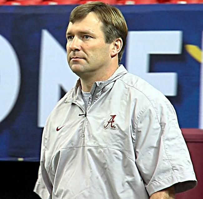 Alabama defensive coordinator Kirby Smart during a walk through in the Georgia Dome on Friday.