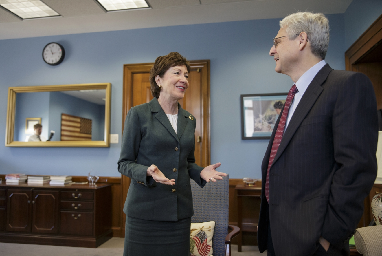 Judge Merrick Garland, President Barack Obama's choice to replace the late Justice Antonin Scalia on the Supreme Court, meets with Sen. Susan Collins, R-Maine, on Capitol Hill in Washington, Tuesday, April 5, 2016. Republican senators, at the insistence of Majority Leader Mitch McConnell, R-Ky., remain steadfast in refusing to hold hearings or a confirmation vote on the nomination during the waning months of Obama's presidency.   (AP Photo/J. Scott Applewhite)