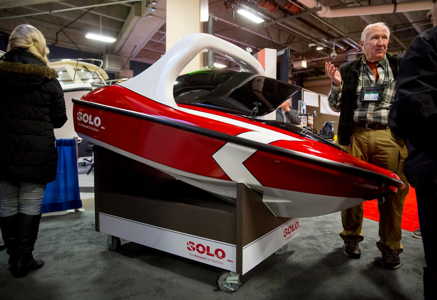 We spent another year at the Seattle Boat Show and found the strangest and most unique boat yet! It's called Solo - part boat, part personal wakeboard machine - and for those who have the cash, it looks like a blast. It's basically an eight foot, remote control miniature jet ski, built for all the water-skiers and wake-boarders out there. The boat is controlled wirelessly via the tow handle, and tracks your position via bluetooth in case you let go. Coming in at $24,995, this is the ultimate toy. (Sy Bean / Seattle Refined)