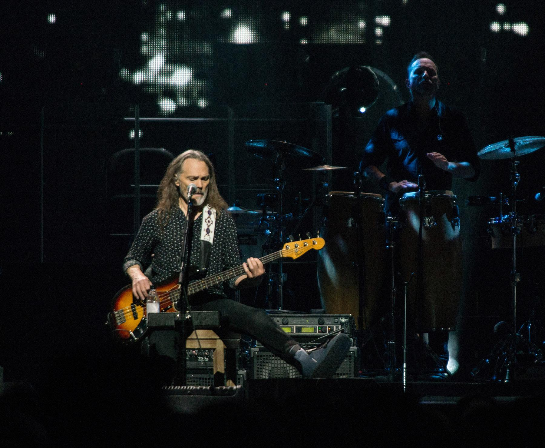 Iconic rock group the Eagles made a stop at Portland's Moda Center on Tuesday night, playing a night full of hits for a packed house of fans. The band (Don Henley, Joe Walsh, Timothy B. Schmit) were joined on stage by Deacon Frey, the son of the late founding member Glenn Frey, and country music guitarist Vince Gill. (KATU Photo by Tristan Fortsch on May 22, 2018)