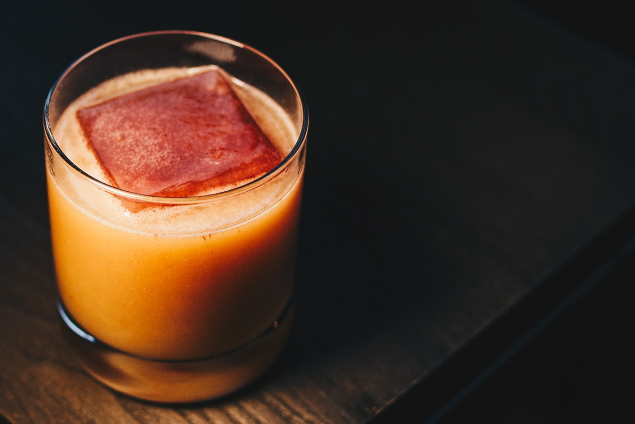 Daywalker: Buffalo Trace Bourbon, amaro, lemon, orgeat, persimmon apple bitters, soda, with a ginger blackberry ice cube / Image: Catherine Viox // Published: 2.25.19