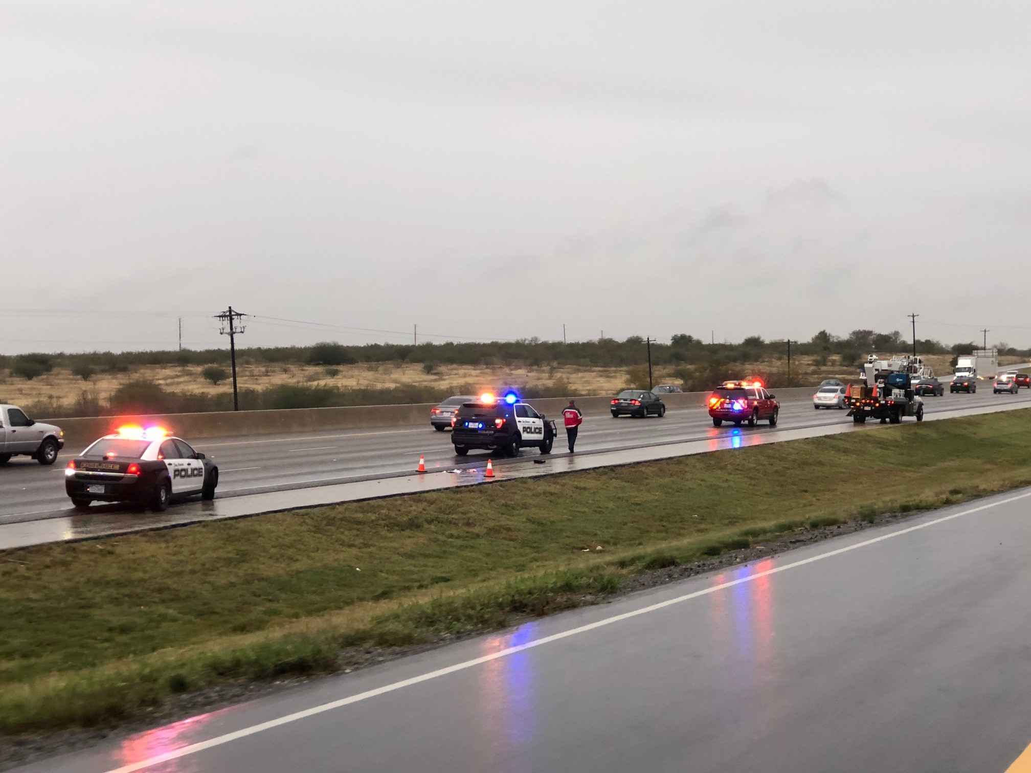 San Marcos Police say a man is critically injured after crashing a stolen car on I-35 and running into oncoming traffic on foot. (CBS Austin)