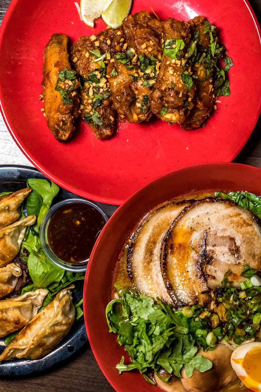 "RESTAURANT: Dope! Asian Street Fare / PICTURED: Dope! Wings, pork dumplings, and pork belly miso ramen / ADDRESS: 100 E. Court Street (Downtown, inside Kroger on the second floor) / PHONE: 513-263-5940 / WEBSITE:{&nbsp;}<a  href=""https://www.thisstuffisdope.com/"" target=""_blank"" title=""https://www.thisstuffisdope.com/"">thisstuffisdope.com</a>{&nbsp;}/ Image: Catherine Viox // Published: 11.2.20"