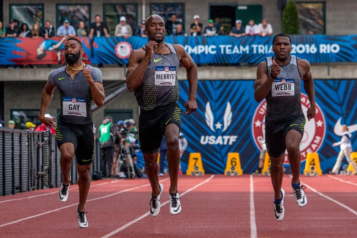 Tyson Gay, Nike�s LaShawn Merritt, and Nike�s Ameer Webb race to the finish line of the men�s 200 meter dash prelims. Day Eight of the U.S. Olympic Trials Track and Field continued on Friday at Hayward Field in Eugene, Ore. and will continue through July 10. Photo by Katie Pietzold