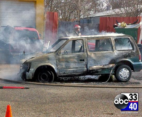 One person taken to hospital with smoke inhalation following van fire near East Lake, February 18, 2014.