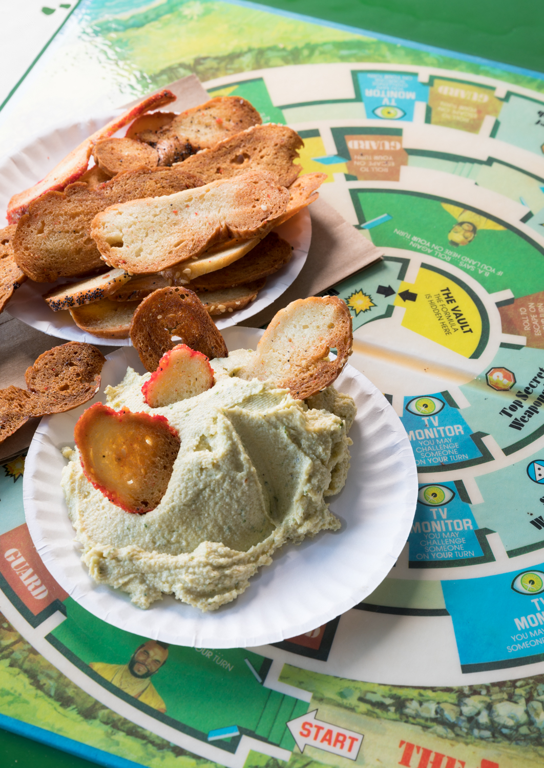 Bagel chips and hummus{ }/ Image: Marlene Rounds // Published: 2.21.19