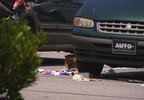 The scene at the Walmart on Bleachery Boulevard on Wednesday, June 28, 2017, where a man was chased and struck by an SUV. (Photo credit: WLOS Staff)