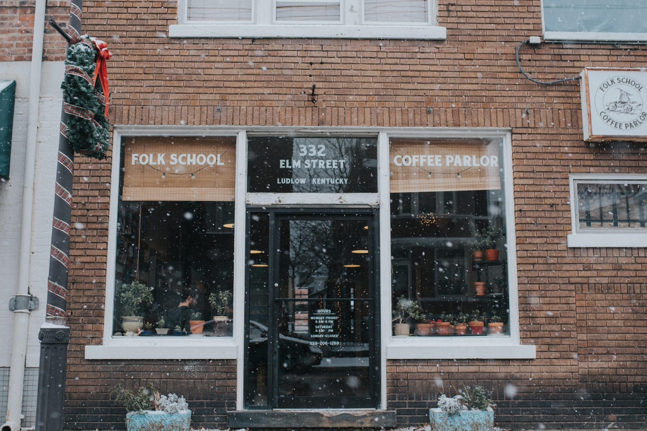 Folk School Coffee Parlor is located in Ludlow, KY. It is located 11 mins (3.8 miles) from Downtown's Fountain Square. / Image: Brianna Long // Published: 3.17.17
