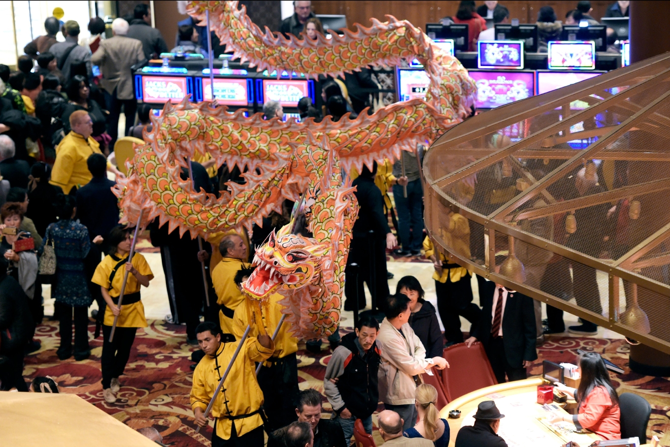 A dragon makes its way through the casino during the grand opening of the Lucky Dragon Hotel and Casino Saturday, Dec. 3, 2016. (Sam Morris/Las Vegas News Bureau)