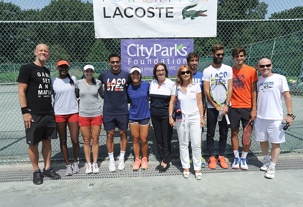 NEW YORK, NY - AUGUST 27:  Murphy Jensen,  Asia Muhammad, Christina McHale, Beryl Lacoste-Hamilton, Joel Gruenberg, Pablo Cuevas, Benoit Paire and Mike Silverman attend the LACOSTE And City Parks Foundation host tennis clinic In Central Park on August 27, 2017 in New York City.  (Photo by Brad Barket/Getty Images for LACOSTE)