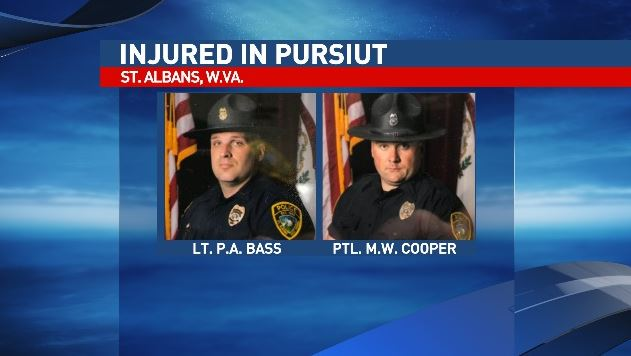 St. Albans Lt. P.A. Bass, left, and Patrolman M.W. Cooper were injured in the pursuit. They were treated and released. (St. Albans Police  Department)