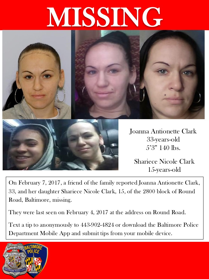 Joanna Antionette Clark and her 15-year-old daughter, Shariece Nicole Clark (Courtesy of Baltimore City Police)