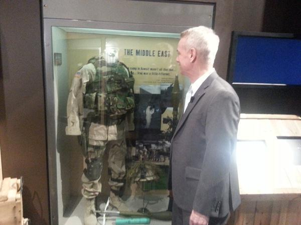 The full US uniform is Retired Lt. Col. Steve Russell next to the uniform he wore in combat and during %u201COperation Red Dawn%u201D