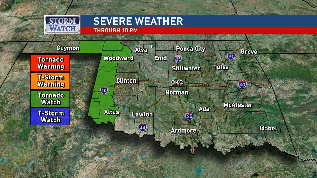 A tornado watch has been issued for western Oklahoma until 10 p.m. May 16. (KOKH)
