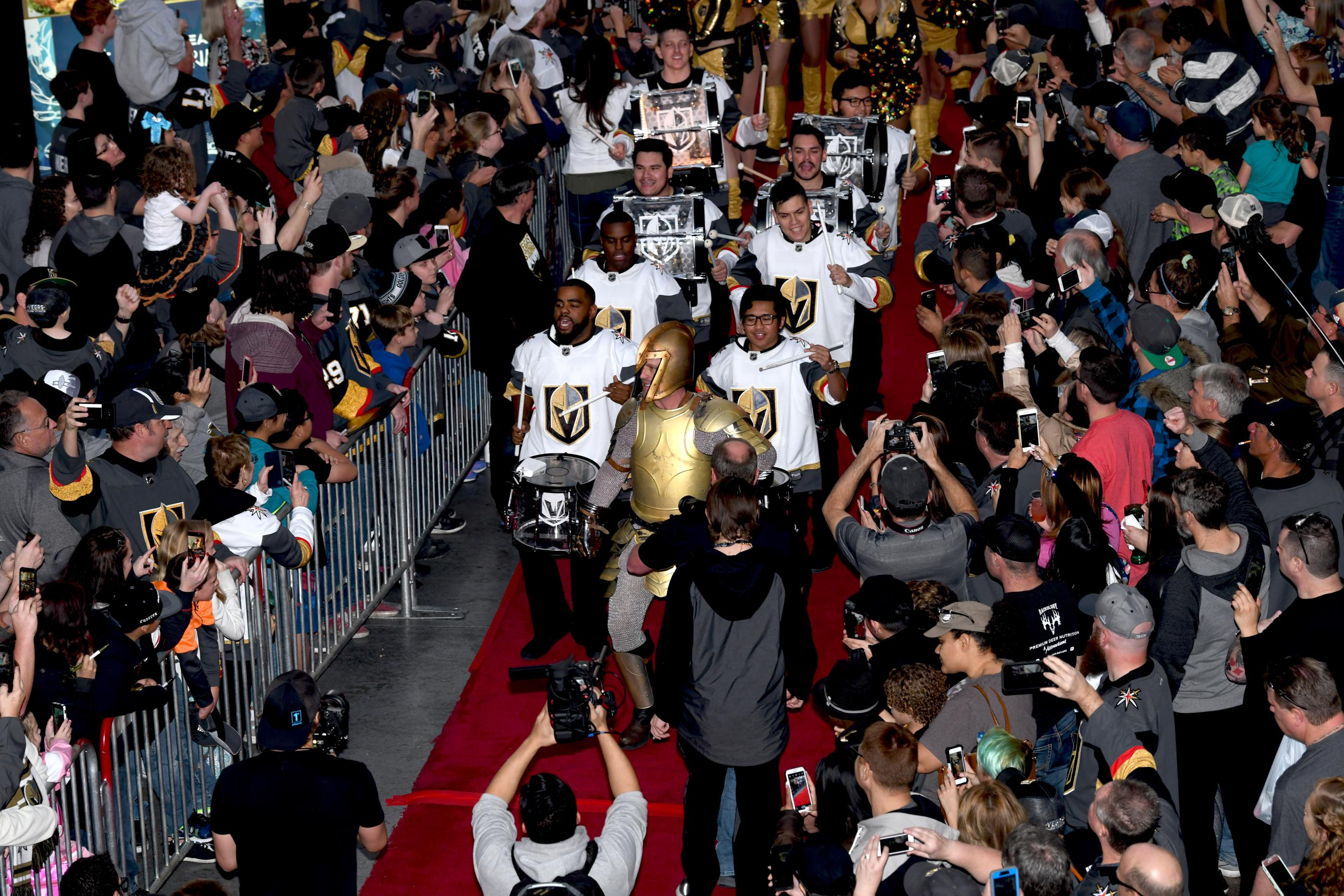 The Golden Knights host a Fan Fest with the D Las Vegas and Fremont Street Experience. Sunday, January 14, 2017. A Golden Knight leads the way for drummers, cheerleaders and the Las Vegas Golden Knights professional hockey team. CREDIT: Glenn Pinkerton/Las Vegas News Bureau