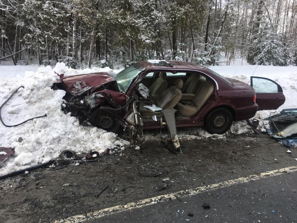 The Somerset County Sheriff's Office says two people suffered serious injuries following a head-on crash in Canaan Thursday morning. (Somerset County Sheriff's Office)