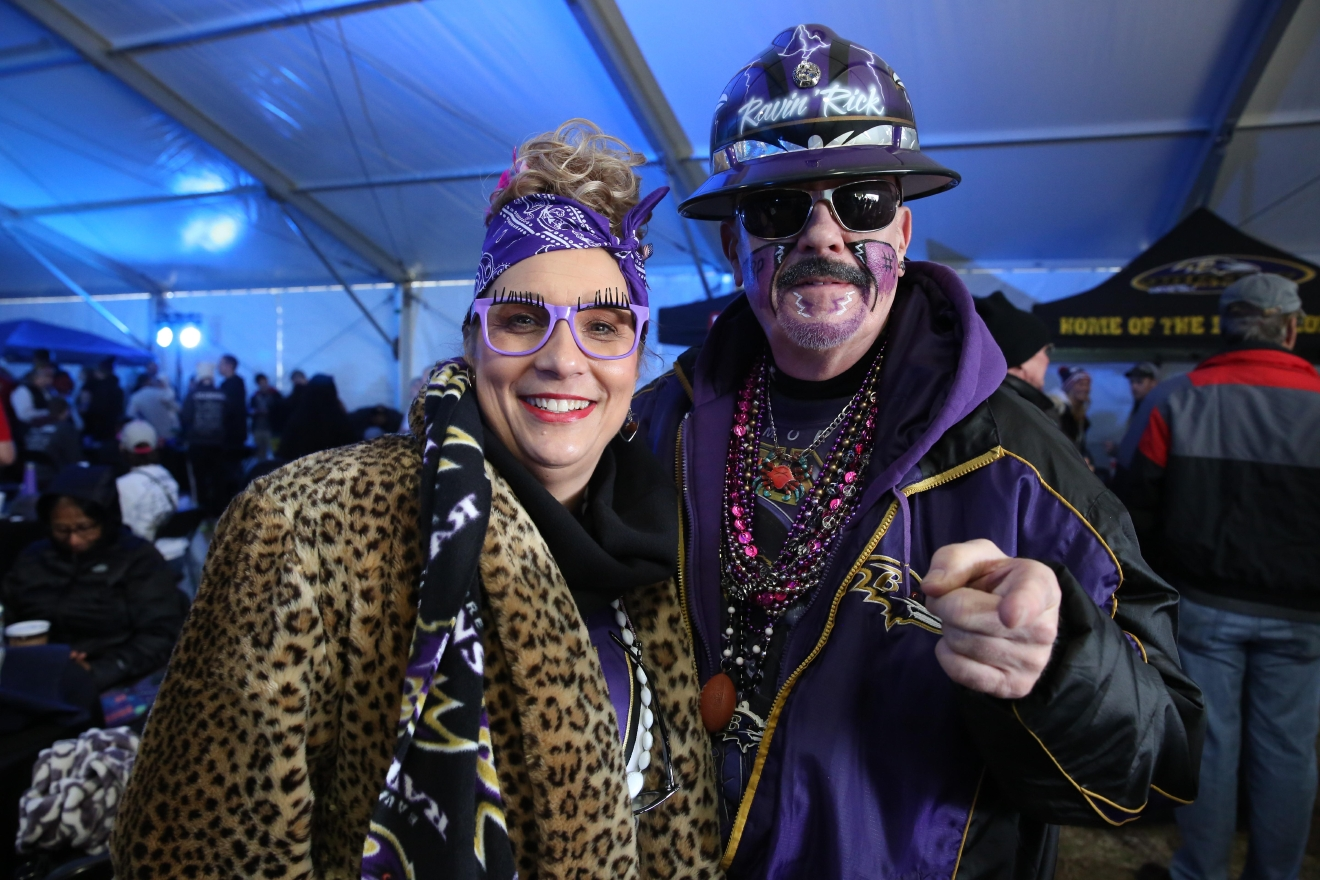 The event was ultra popular with Ravens' fans, some of whom took the chance to rep their team. (Amanda Andrade-Rhoades/DC Refined)