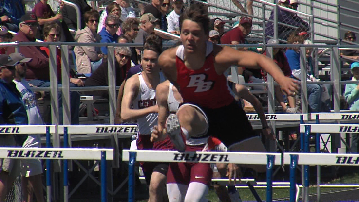 Broken Bow's Andrew Miller clears a hurdle on his way to winning the boys 110 meter hurdles at the Ron Priebe Invite in Gibbon, April 20, 2017 (NTV News)