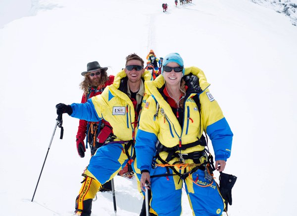 Army Capt. Elyse Ping Medvigy, Harold Earls and Chad Jukes climb the North Col before they returned to base camp.
