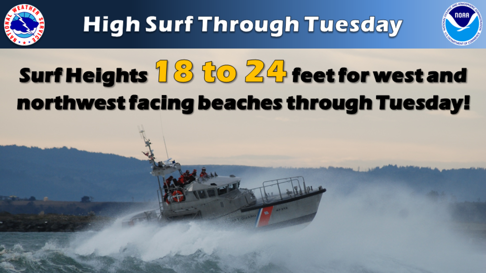 nws high surf advisory in effect until 1 p m tuesday breakers up