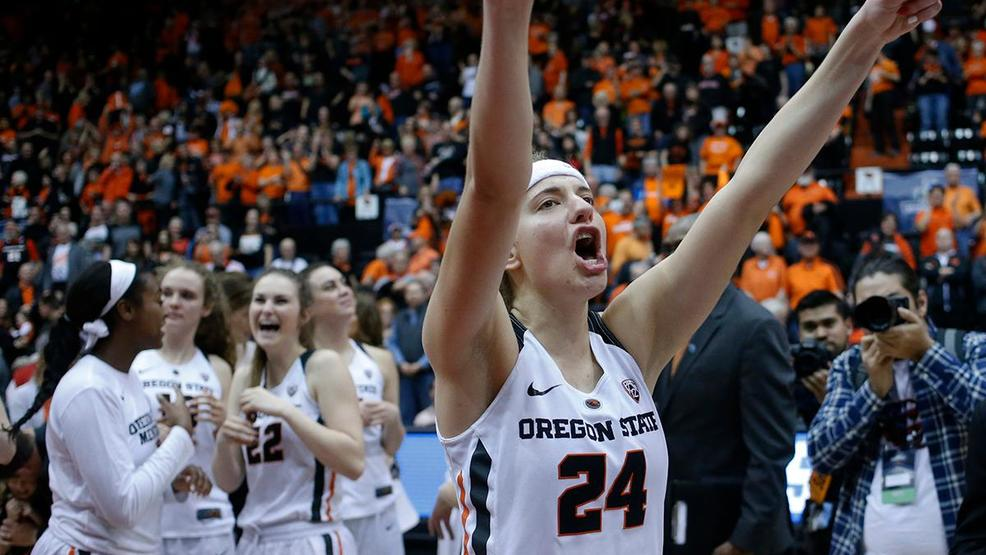 34b49584d Oregon State s Sydney Wiese thanks fans after Oregon State defeated  Creighton 64-52 in a second-round game in the NCAA women s college  basketball tournament ...