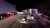 Semi crash tops I-5 with shredded cheese