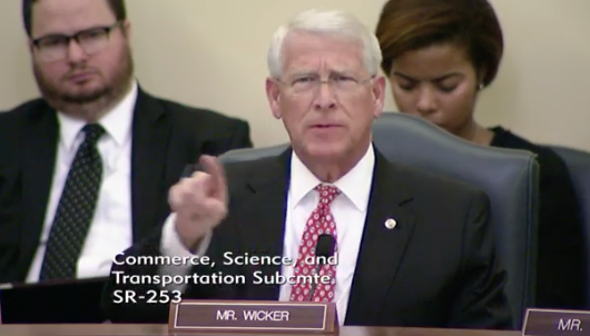 Subcommittee Chairman Senator Roger Wicker, R-Miss /Photo:{&amp;nbsp;}Senate Committee on Commerce, Science, &amp;amp; Transportation's Subcommittee on Communications, Technology, Innovation, and the Internet<p></p>