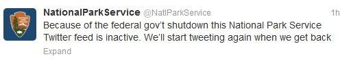The Parks Service tweeted that it will be shutting down its twitter account as long as the shutdown goes on.