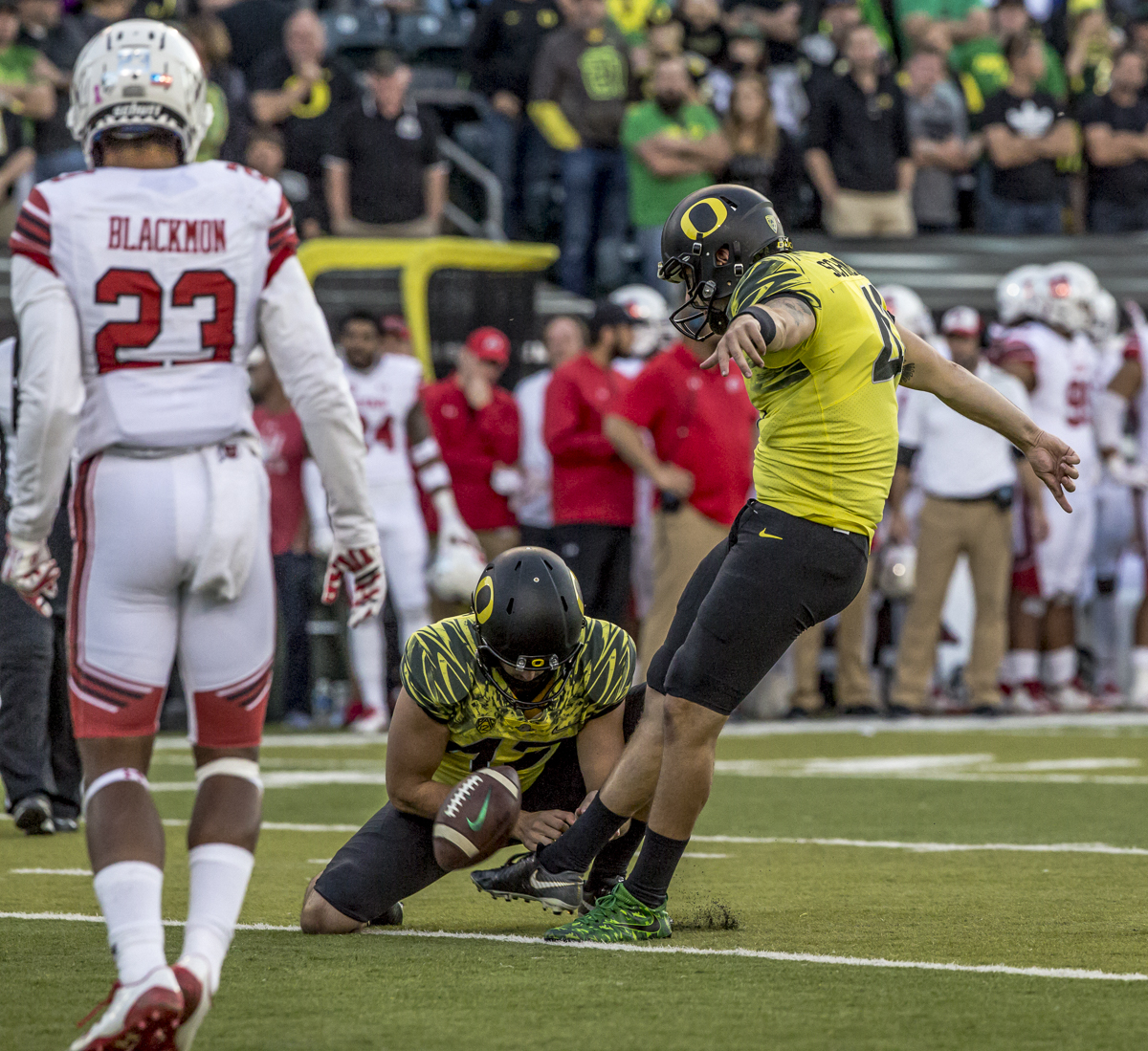 Oregon kicker Aidan Schneider (#41) kicks the ball for a successful point after conversion. The Oregon Ducks defeated the Utah Utes 41 to 20 during Oregon's homecoming game at Autzen Stadium on Saturday, October 28, 2017. Photo by Ben Lonergan, Oregon News Lab