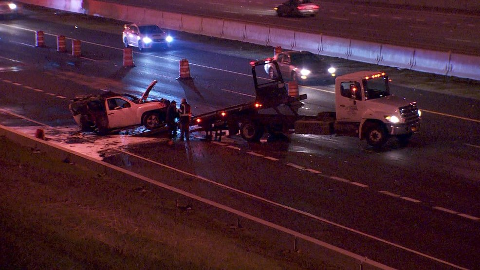 Fiery crash closes I-205 southbound overnight, no word on injuries