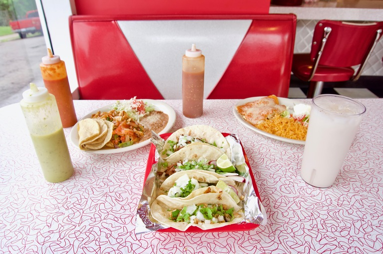 Carnitas and pescado tacos, chicken enchiladas, lunch fajitas, and horchata / Image: Brian Planalp // Published: 5.20.18
