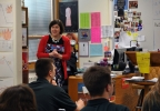 Golden Apple Award recipient Stefanie Jochman teaches an English class at Notre Dame Academy in Green Bay, March 15, 2016. (WLUK/Courtney Ryan)