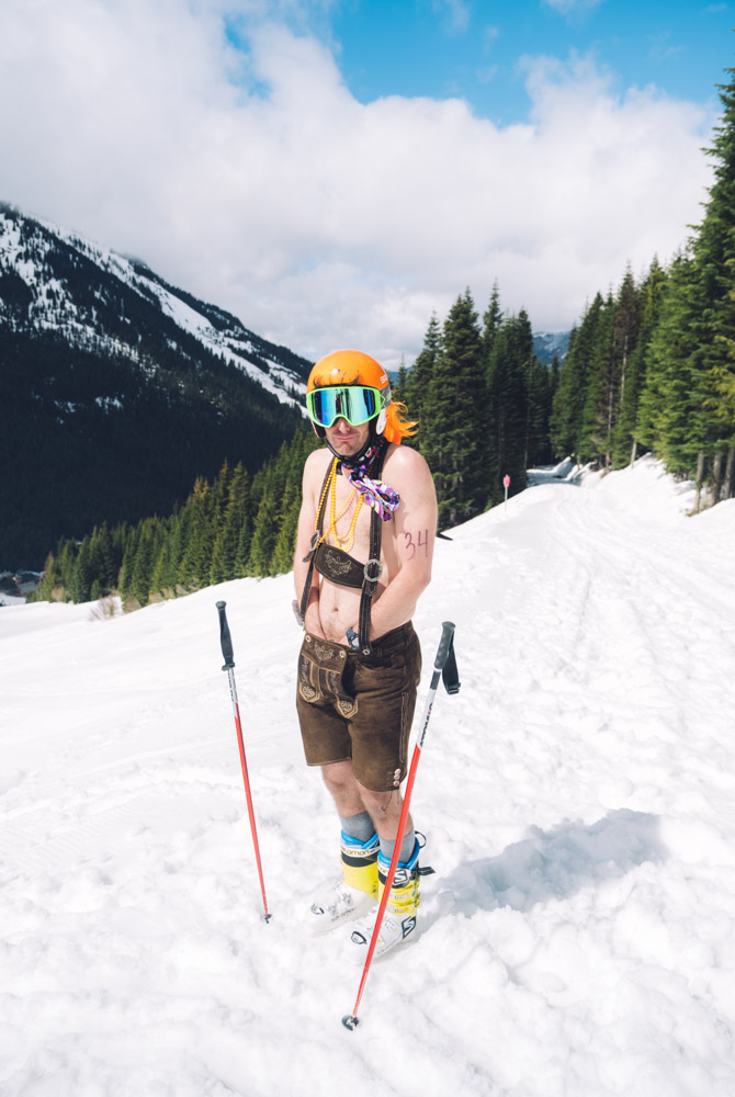 The sun was shining at Crystal Mountain as contestants gathered to brave the cold in swimwear for{ }the 9th annual Elysian Superfuzz Bikini Downhill fundraiser which benefited the Crystal Mountain Fire Department. With creative outfits, plenty of beer, and friendly competition, it was a sight to behold as brave skiers and snowboarders hurled themselves headlong down Gold Hills. (Image: Ryan McBoyle / Seattle Refined)
