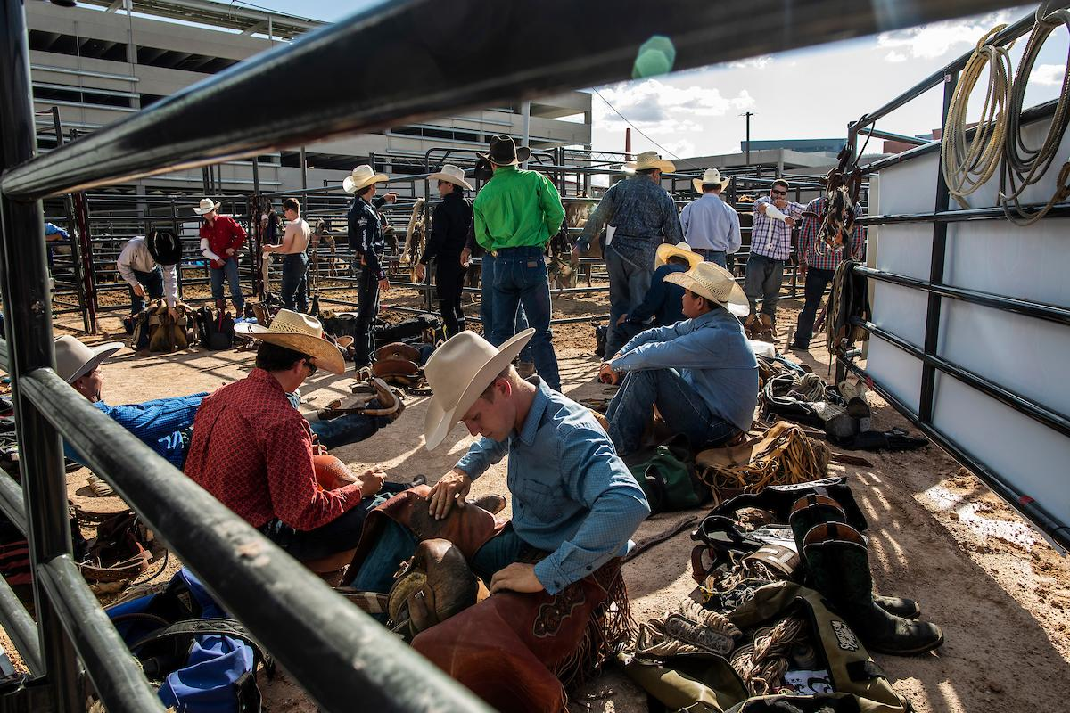 Riders prepare for day one of the Las Vegas Days Rodeo at the Plaza Hotel CORE Arena on Friday May 10, 2019. Las Vegas Days, formerly known as Helldorado Days, is an annual cowboy-themed event celebrating Las Vegas? tribute to the Wild West. CREDIT: Joe Buglewicz/Las Vegas News Bureau