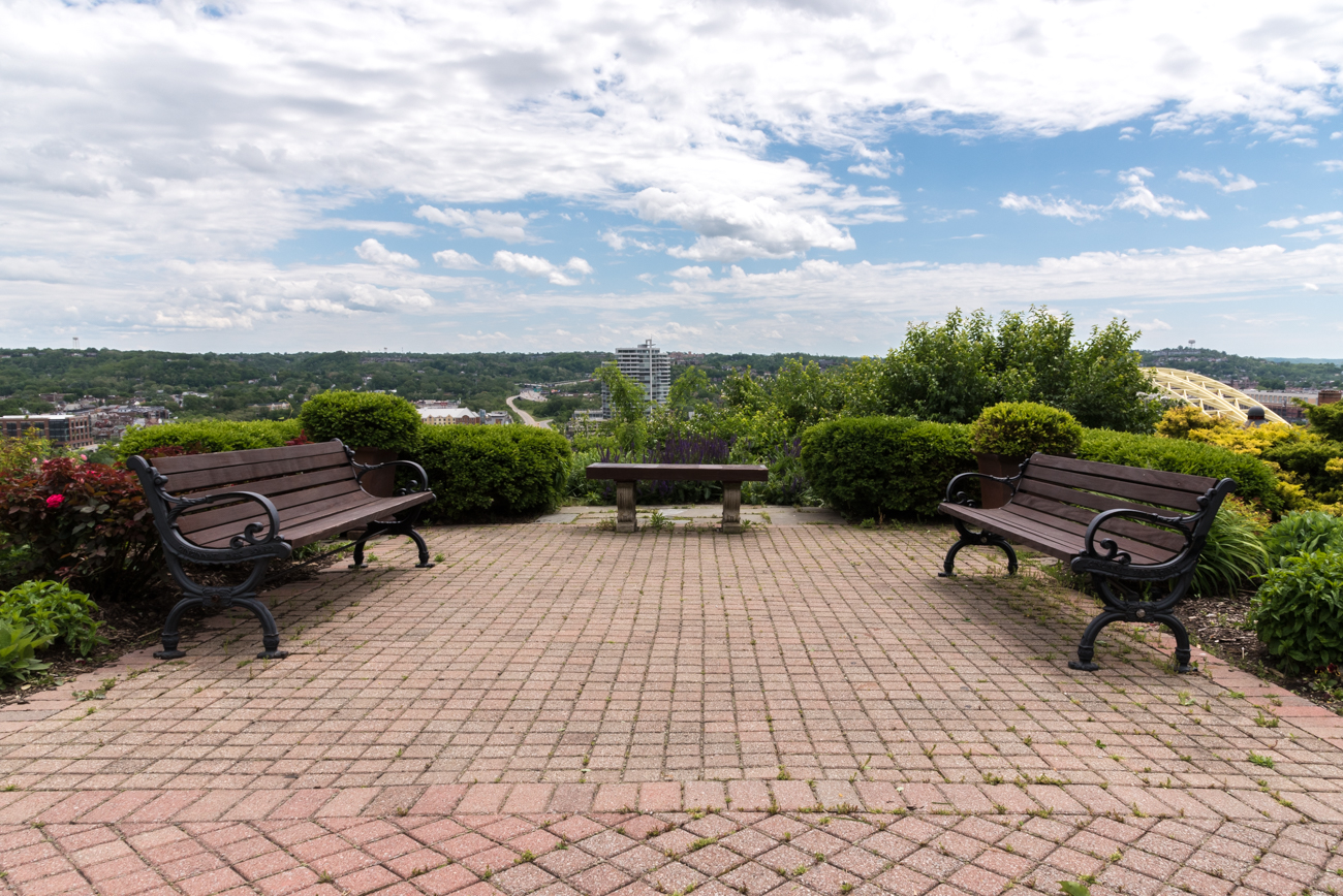 PARK: Mt. Adams Lookout / LOCATION: Corner of Celestial and Hill Streets in Mt. Adams / FUN FACT: The steps leading down from the park actually take you across an elevated walkway over Columbia Parkway and down onto Adams Crossing, just a few hundred feet from the Montgomery Inn Boathouse. / IMAGE: Phil Armstrong, Cincinnati Refined // PUBLISHED: 5.8.17