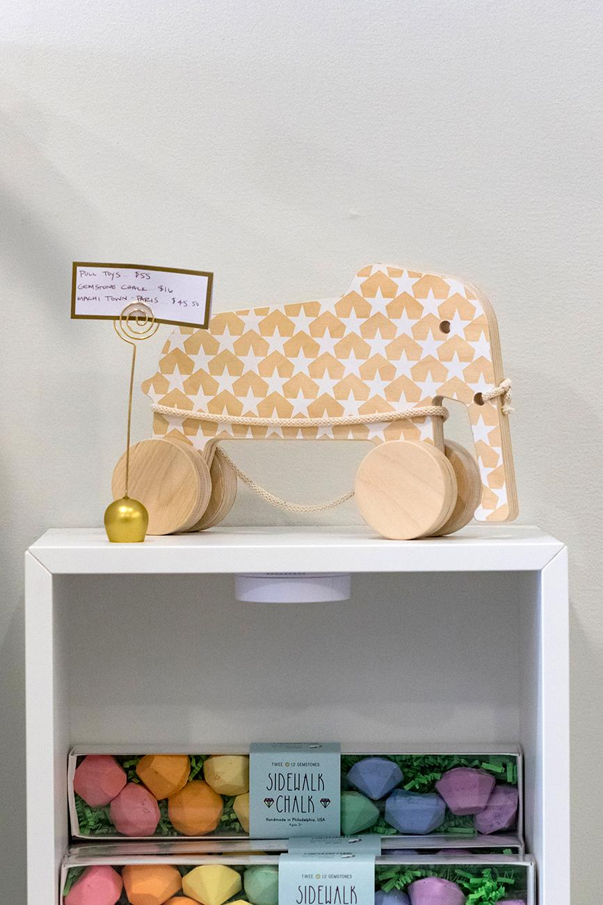 Many of the toys are plastic-free are made from wood instead. / Image: Allison McAdams // Published: 4.6.19