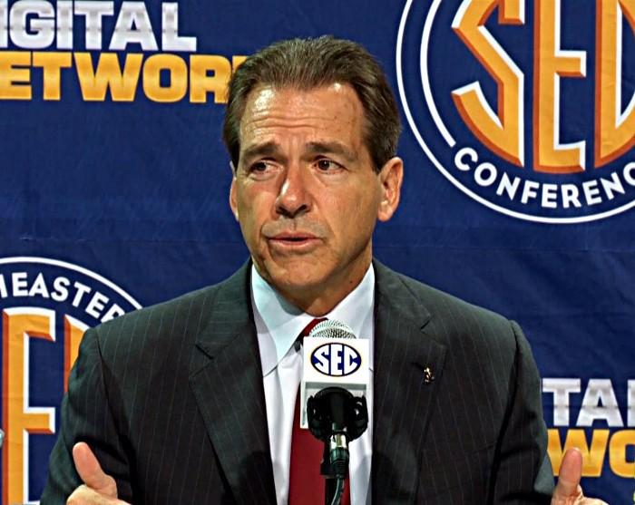 Nick Saban during his SEC Championship game news conference on Friday. (abc3340.com)
