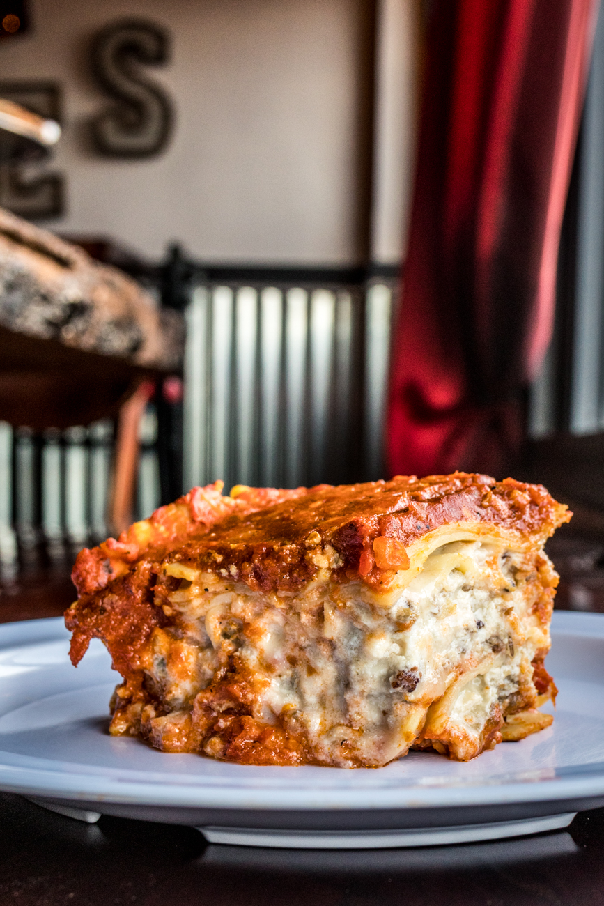 Meat Lasagna: lasagna layered with chopped sausage, crushed meatballs, small-batch marinara sauce, mozzarella, and ricotta / Image: Catherine Viox // Published: 2.3.20