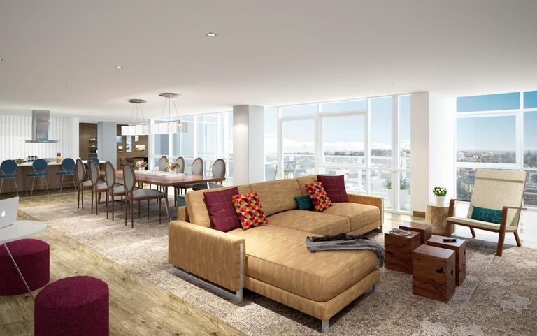 The Viewpoint on Level 16 at The Danforth features dining and lounge seating for entertaining with a view.
