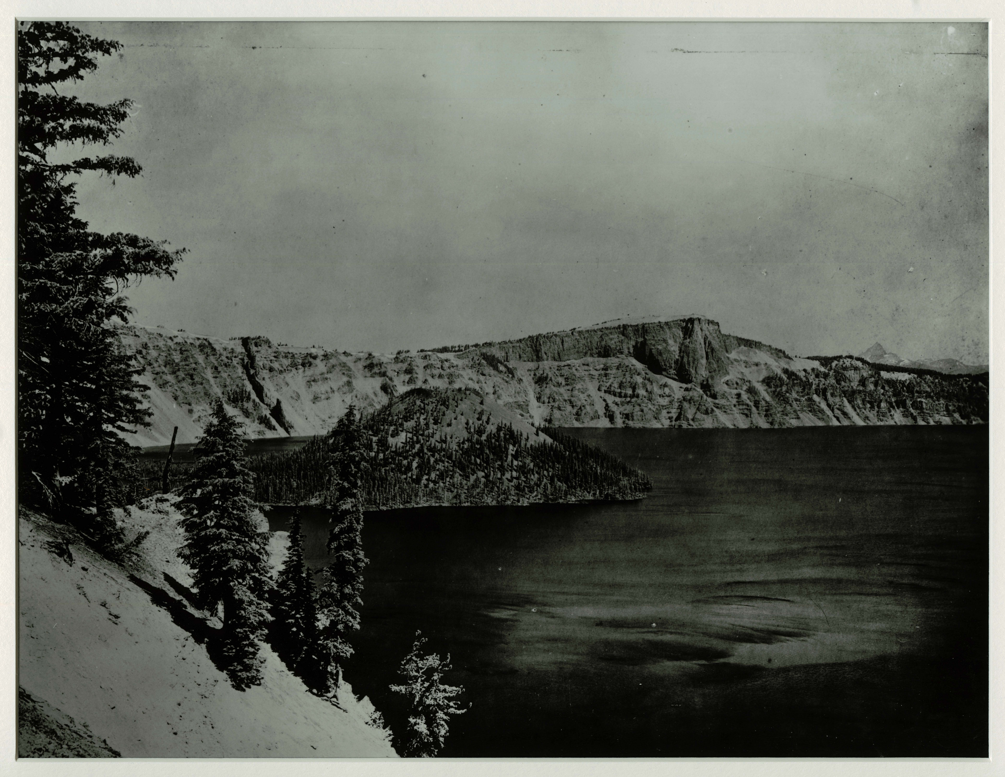 Victor Rock and Crate Lake from Rim Village. Photographed by J.S. Diller in the 1890s or 1901 during the USGS survey of the Crater Lake area. Credit: Courtesy CRLA Museum & Archive Collections