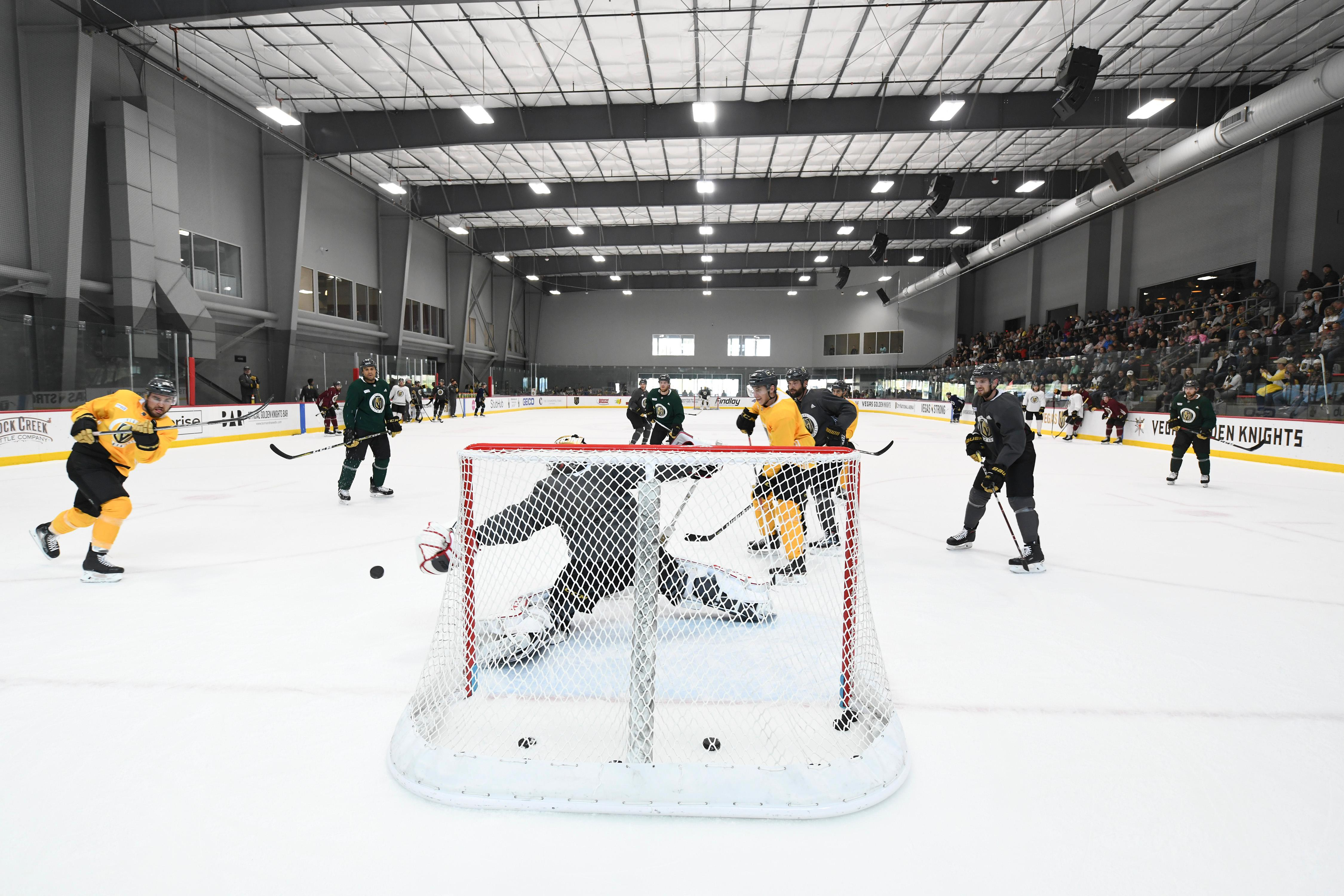 Vegas Golden Knights left wing William Carrier takes a shot at goalkeeper Malcolm Subban during the Vegas Golden Knights practice Friday, April 20, 2018, at City National Arena in Las Vegas. CREDIT: Sam Morris/Las Vegas News Bureau