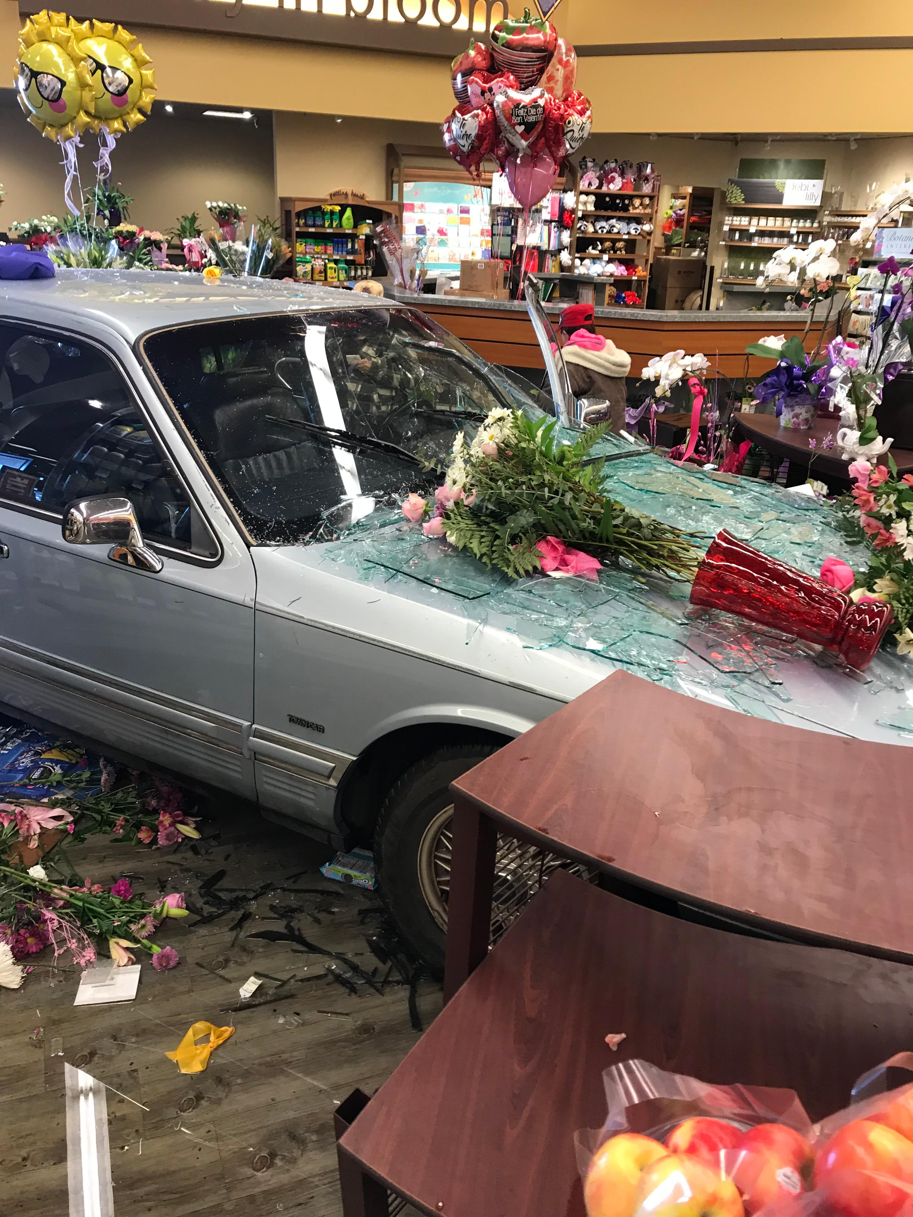 Nobody was seriously injured following an accident that took place at a Safeway in Junction City, when a 88-year-old man drove through the front entrance. (Photo Courtesy of Oregon State Police).