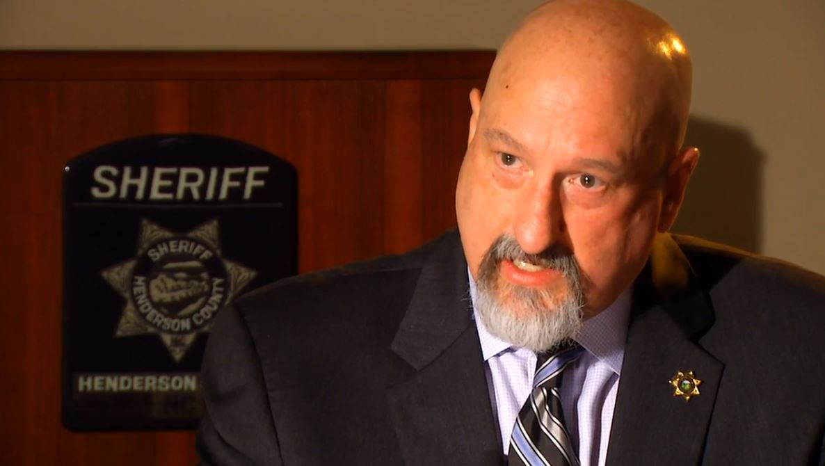 (FILE) Henderson County Sheriff Charlie McDonald speaks with News 13 in spring of 2016. (Photo credit: WLOS staff)