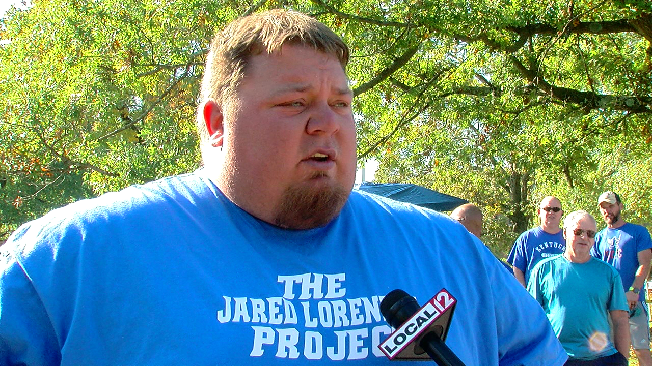 jared lorenzen and his supporters exercise in tower park