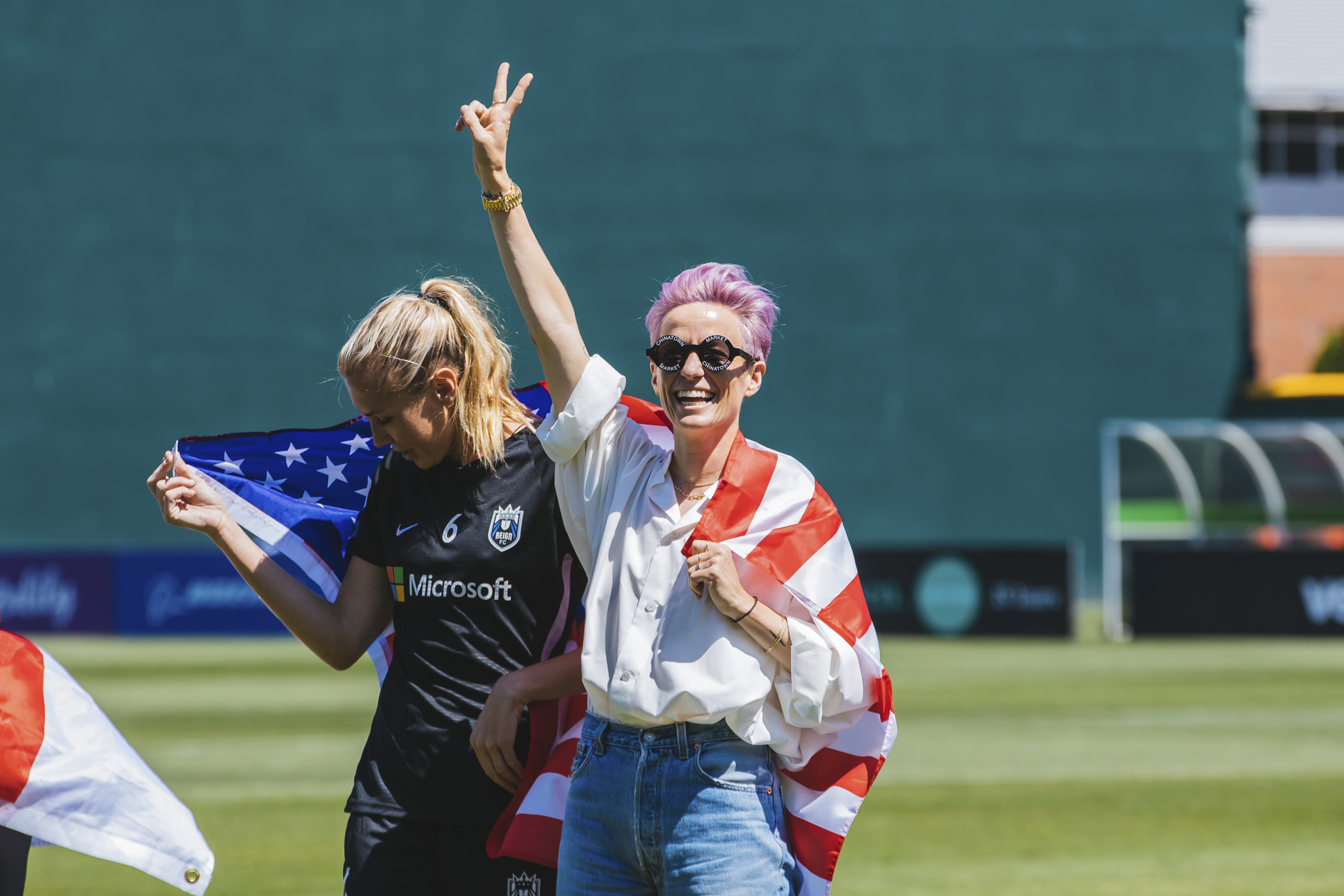 World Cup champions Megan Rapinoe and Allie Long were welcomed back to their home team the Seattle Reign FC on Sunday, July 28 at their first match back after their phenomenal{ } World Cup{ } win. While neither played this game, proud fans filled a sold-out Cheney Stadium in Tacoma, where 7,000+ watched as the Reign took on the Chicago Red Stars. (Image: Sunita Martini / Seattle Refined)