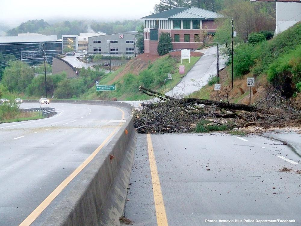Heavy rain caused a rockslide off Highway 31 in Vestavia Hills, Monday, April 7, 2014.